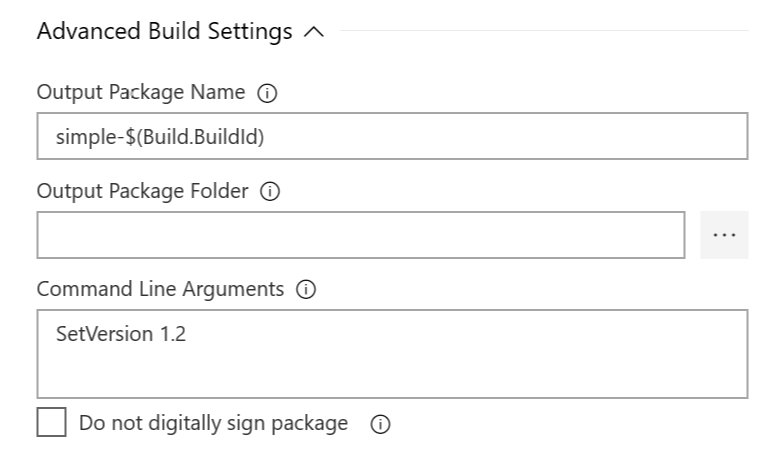 Configure Advanced Build